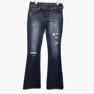 American Eagle Kick Boot Distressed Dark Wash Jean